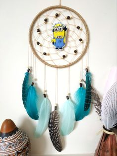 Minion Dream Catcher Minion Birthday Gift Dreamcatcher for Kids Room Decor This dream catcher is a must have for your minion fan! Made with attention and love this dream catcher brings its owners good dreams and positive energy. Minion Birthday, Birthday Gifts, Dream Catcher Decor, Dream Catchers, Minions Fans, Ulzzang Kids, Dinners For Kids, Wooden Beads, Creative Gifts