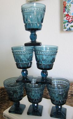 Blue depression glass goblets $20