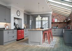 Mason shaker style replacement kitchen doors finished in Serica Dust Grey Grey Kitchen Blinds, Grey Kitchen Cupboards, Grey Kitchen Floor, Grey Kitchens, Kitchen Flooring, New Kitchen, Home Kitchens, Kitchen Decor, Kitchen Ideas