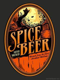 "geeksngamers: "" Dune: Spice Beer Label - Created by Merrypranxter "" Dune Book, Dune Frank Herbert, Dune Art, Beer Art, Science Fiction Art, Printing Labels, Sci Fi, Spices, Art Prints"