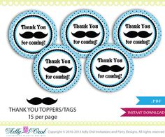 Mustache Thank You Toppers tags for Little by adlyowlinvitations, $4.00