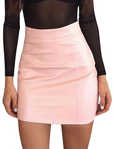 073a0139b58fed   11.25  Women s Going out Mini Bodycon Skirts - Solid Colored High Waist