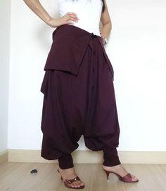 Plum Unisex Pants DropCrotch Ninja Trousers,High Fashion Gaucho,in Cotton Jersey #TribalFashion #CasualDropCrotchYoga
