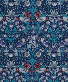 Fabric Designs Classic Tana Lawn Fabric Collection - Strawberry Thief in Blue by Liberty Art Fabrics - Liberty Art Fabrics, Liberty Print, Liberty Of London Fabric, William Morris, Textiles, Textile Prints, Textile Design, Textures Patterns, Print Patterns
