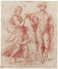 Raffaello Sanzio - Mercury offering the cup of immortality to Psyche. Life Drawing, Figure Drawing, Drawing Sketches, Painting & Drawing, Art Drawings, Michelangelo, Renaissance Kunst, High Renaissance, Caravaggio