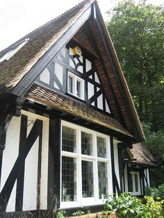 Tudor cottage Black and white