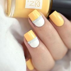 yellow nails for summer with silver tape by @marinelp91