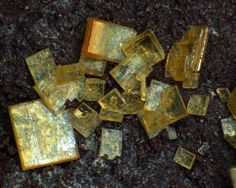 Saléeite,  Mg(UO2)2(PO4)2•10(H2O), Arcu su Linnarbu, Capoterra, Sardinia, Italy. Fov 3 mm. Photo Luigi…