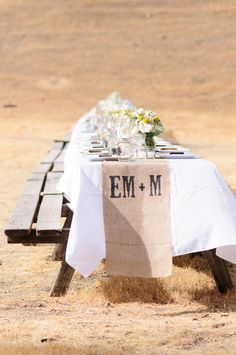 love this burlap table runner! | Photo by Looking Glass Photography