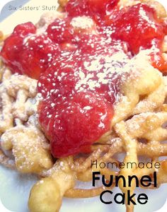 Check out this recipe for Homemade Funnel Cake! Easy and delicious! - I LOVE funnel cake! Köstliche Desserts, Delicious Desserts, Yummy Food, Dessert Healthy, Summer Desserts, Sweet Recipes, Cake Recipes, Dessert Recipes, Breakfast Recipes