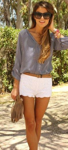 Navy blue stripe shirt, white scalloped edge shorts and cat eye sunglasses. Summer time