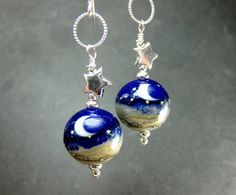 Blue Moon Earrings Star Earrings Crescent by GlassRiverJewelry, $32.00