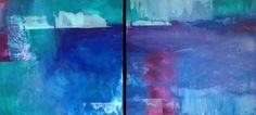 Two 3'x3' acrylic paintings of abstract landscapes