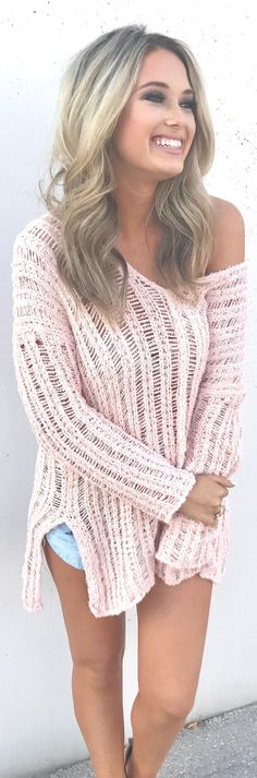 stylish spring outfits /  Pink Off The Shoulder Knit / Denim Short