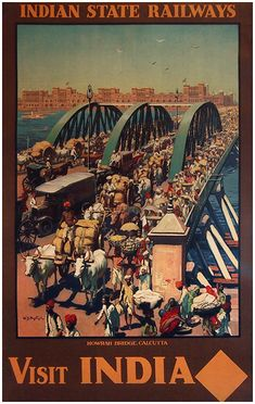 1930 Visit India ,Floating over the Hooghly River in West Bengal, the old Calcutta pontoon bridge is filled with the colorful traffic and wonderful crowds of India. This bridge was replaced by the modern Cantilever Bridge which is well known today, vintage travel poster