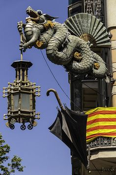 Photographic Print: Carved Chinese Dragon with Fan and Lantern by Richard Nowitz : Barcelona Architecture, Art And Architecture, Begur Costa Brava, Year Of The Dragon, Barcelona Catalonia, Antoni Gaudi, Barcelona Travel, Spain And Portugal, Best Cities
