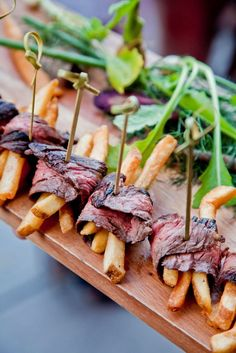 Steak & frites hors-d'oeuvres: the perfect pair to start off a soiree.