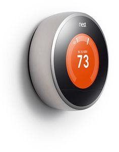 Nest Learning Thermostat- it learns your schedule, programs itself and can be controlled from your phone. Teach it well and Nest can lower your heating and cooling bills up to 20%.  so cool...I want!