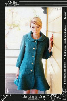 A sewing pattern to make a semi-fitted, fully lined coat. The Abbey Coat features princess seams, 3/4 sleeves, and a peter pan collar. View A is made