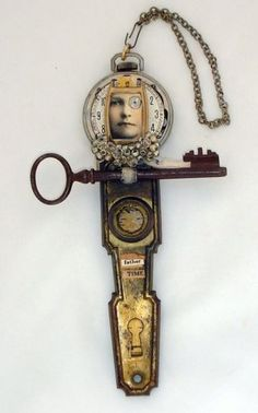 Jeanette Janson assemblage. I especially like the creative reuse of vintage door hardware.