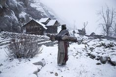 2016 National Geographic Travel Photographer of the Year | National Geographic.   Remote life at -21 degree Photo and caption by mattia passarini    An old woman in a remote village in Himachal Pradesh, India, carries a big log back home to warm up her house.