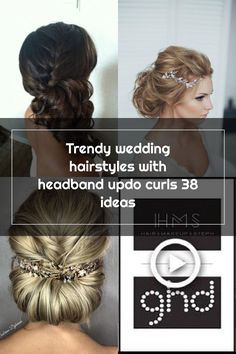 Trendy wedding hairstyles with headband updo curls 38 ideas Updo Curls, Updo With Headband, Headband Hairstyles, Wedding Hairstyles, Wedding Hair Side, Trendy Wedding, Updos, Bobby Pins, Hair Accessories