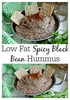 Low Fat Spicy Black Bean Hummus Without Tahini Extra beans ( heaping 2 cups or for doubled. entire pound of beans)and half the like juice for thicker dip Tapenade, Chutneys, Yummy Appetizers, Appetizer Recipes, Whole Food Recipes, Cooking Recipes, Healthy Snacks, Healthy Eating, Vegetarian Recipes