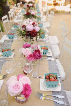 Vintage Country Chic, except I would do chocolate covered strawberries at the place settings...