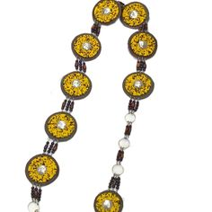 HANDMADE YELLOW, LEATHER AND BEAD CHAIN BELTS, INCL SHIPPING