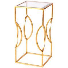 Worlds Away Square Occasional Table in Gold Leaf with Clear Glass Top TULIP G