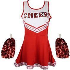 Pom-Pom Girl déguisement Uniforme High School Musical pour fille avec pompons en 6couleurs–5tailles au choix – Rouge – 38
