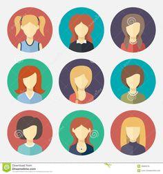 set-girl-avatar-flat-design-icons-vector-46965279.jpg (1300×1390)