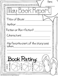 Book report template for  th graders