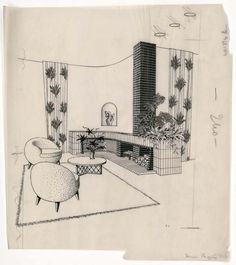 Jean ROYERE living room project with fireplace, middle of the century, drawing, Les Arts Décoratifs Museum, Paris. Interior Architecture, Interior Design, Modern Interior, Architectural Antiques, Architectural Drawings, Furniture Factory, Vine Wall, Types Of Furniture, Mid Century Design