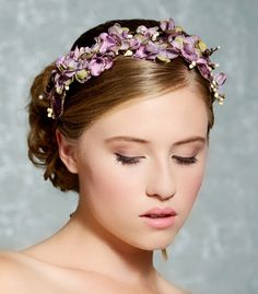 Purple Lavender Flower Hair Crown Bridal Hair Wreath