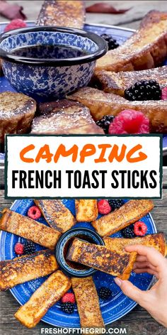 These French Toast Sticks are such a fun and easy camping meal for kids (and adults!) This recipe will quickly become a new family favorite. Healthy Camping Snacks, Campfire Snacks, Camping Meals For Kids, Camping Desserts, Camping Menu, Backyard Camping, Family Camping, Camping Hacks, Camping Setup Ideas