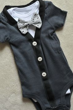 Baby boys Grey  Cardigan bodysuit with adorable pattern bowtie and undershirt perfect for any day. Makes a great gift coming home outfit on Etsy, $30.75