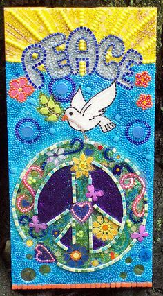 Mosaic Dove with Peace Sign. $300.00, via Etsy.