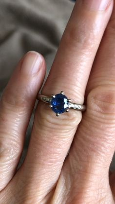 Handmade in 18ct white gold and set with a deep blue sapphire, responsibly mined in Madagascar, and set with 6 tiny diamonds Sapphire Diamond, Blue Sapphire, Wedding Jewelry, Gold Jewelry, Handmade Engagement Rings, Bespoke Jewellery, Gemstone Colors, Madagascar, Deep Blue