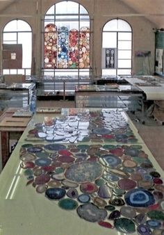 Sigmar Polke uses agate slices in lieu of stained glass.