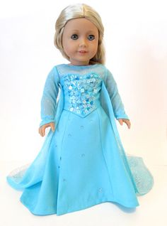 Elsa Frozen inspired Ice Queen dress for American Girl Doll