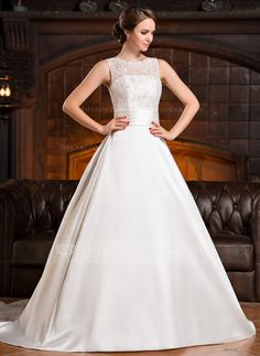 A-Line/Princess Scoop Neck Chapel Train Satin Lace Wedding Dress With Ruffle Beading Sequins Bow(s) (002056219)