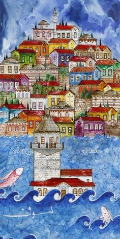 Colorful Maiden& Tower and Istanbul Miniature Painting For Kids, Painting & Drawing, Office Paint Colors, Turkish Art, Marble Art, Naive Art, Islamic Art, Doodle Art, Traditional Art
