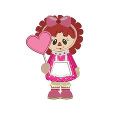 Rag Doll Holding Big Heart Applique machine embroidery digitized design pattern  - Instant Download -4x4 , 5x7, and 6x10 hoops