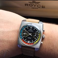Monday morning bargain Chronograph: Royce Cushion Case with Valjoux 7734, supremely cool exotic dial and original box.  First $1k takes it!  Inquiries to info@analogshift.com