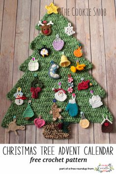 Get the free crochet pattern for this crochet christmas tree advent calendar and ornaments from the Cookie Snob featured in my crochet christmas party FREE pattern roundup!
