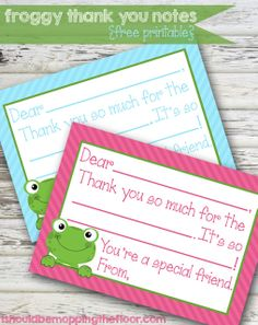 Free printable fill-in-the-blank thank you notes. Perfect for kiddos to fill in after birthdays or holidays. Choose from blue or pink. Anna Frozen, Fun Crafts, Crafts For Kids, Paper Crafts, Thank You Notes, Thank You Cards, Kids Cards, Teacher Gifts, Party Time