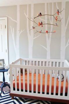 Woodland themed baby nursery navy and orange woodland nursery project nursery woodland themed baby boy nursery . Baby Boy Rooms, Baby Bedroom, Baby Boy Nurseries, Nursery Room, Girl Nursery, Kids Bedroom, Modern Nurseries, Nursery Themes, Nursery Decor