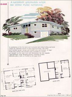 A modern exterior with an open plan interior. home design room design house design Modern Floor Plans, Modern House Plans, Modern House Design, House Floor Plans, Mid Century House, Mid Century Style, Mcm House, Vintage House Plans, Modern Exterior