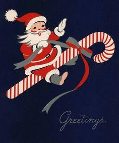 Santa on candy cane